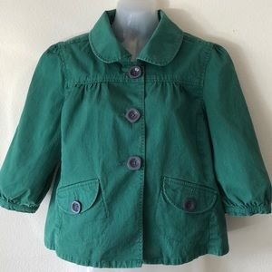 Fossil cropped cotton puffy sleeve jacket sz Med